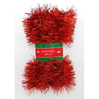 Vánoční řetěz červený 7cm x 2,5m