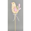Ptáček dřevěný růžový zápich