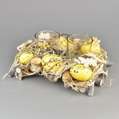 Velikonoční svícen s vajíčky na 2 svíčky